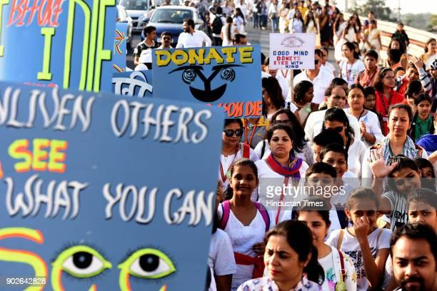 People participating in Tamaso Ma Jyotirgamaya A Walk against Blindness organized by Advanced Eye Hospital at Sanpada on January 7 2018 in Navi...
