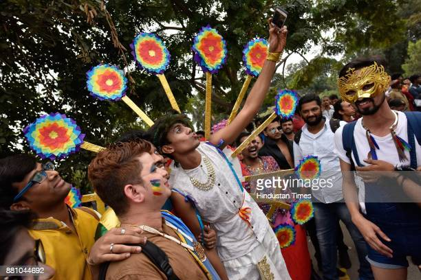 People participating in the 10th year celebration of Namma Pride and Karnataka Queer Habba on November 26 2017 in Bengaluru India More than 5000...