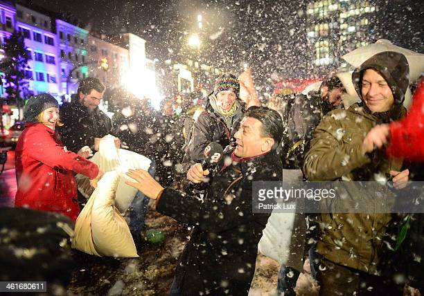 People party a pillow fight on the Spielbudenplatz in the center of St Pauli on January 10 2014 in Hamburg Germany Hamburg city authorities have...
