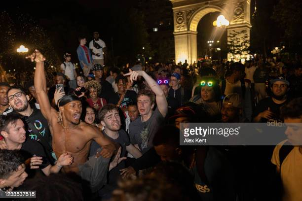 People party in Washington Square Park on June 18, 2021 in New York City. The gatherings in the park have drawn numerous complaints from the...