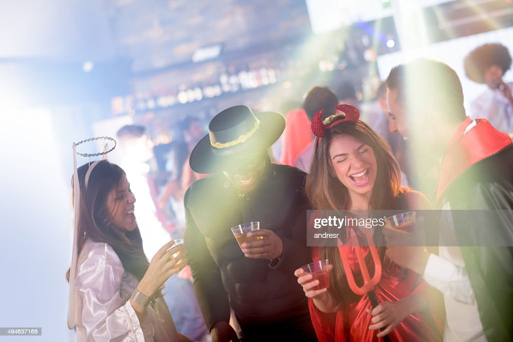 People partying in Halloween : Stock Photo