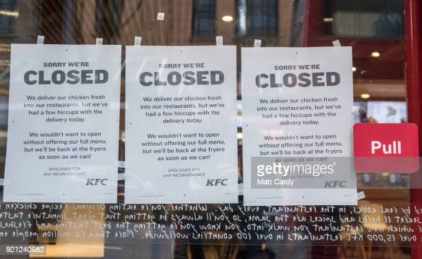 People pass a branch of KFC that is closed due to problems with the delivery of chicken on February 20 2018 in Bristol England KFC has been forced to...