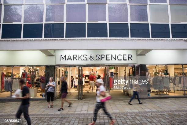 People pass a branch of Marks and Spencer on September 11 2018 in Gibraltar Gibraltar As the date for the United Kingdom's departure from the...