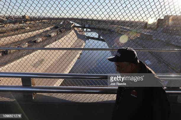 People pass over the Paso Del Norte Port of Entry bridge which connects the United States and Mexico on January 19 2019 in El Paso Texas President...