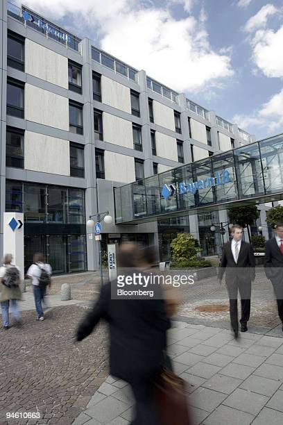 People pass the headquarters of Bayerische Landesbank in Munich Germany on Wednesday Aug 22 2007