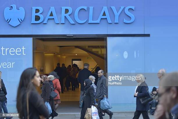 People passing a branch of the Barclays Bank in Manchester Greater Manchester England United Kingdom on Wednesday 30th March 2016 The UK banking...