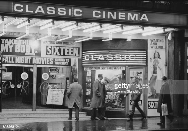 People passing in front of a 'Classic Cinema' entrance 29th January 1975