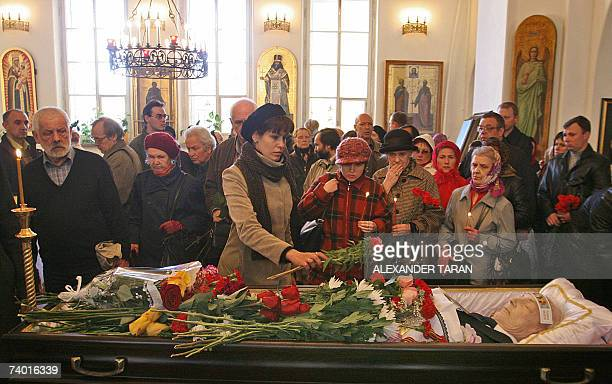 People pay their last respects to famous Russian actor Kiril Lavrov at a church in Stpetersburg 28 April 2007 Kiril Lavrov a popular Russian stage...