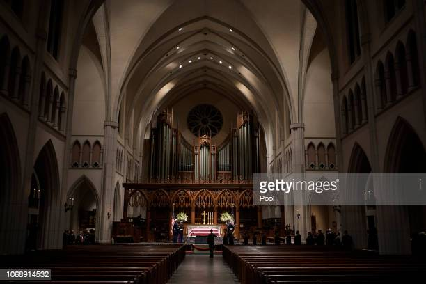 People pay their respects as former President George HW Bush lies in repose at St Martin's Episcopal Church on December 5 2018 in Houston Texas...