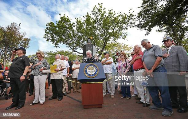 People pay their respects as the Bay of Pigs Veterans Association honors those who died from the 2506 brigade during the April 1961 invasion on...