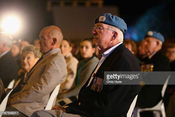 People pay their respects during the ANZAC dawn service at Currumbin Surf Life Saving Club on April 25 2013 in Gold Coast Australia Veterans...