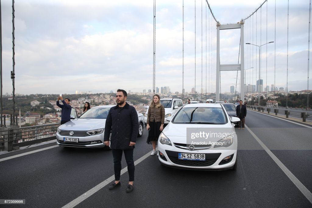 05 am, the death time of Mustafa Kemal Ataturk, founder of the Republic of Turkey, during the 79th anniversary of his death at 15 July Martyrs Bridge in Istanbul, Turkey on November 10, 2017.