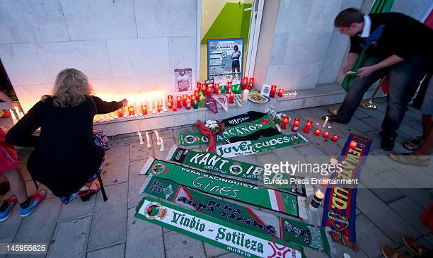 People pay tribute to Manuel Preciado former coach of Sporting Gijon who died of a heart attack aged 54 on June 7 2012 in Santander Spain