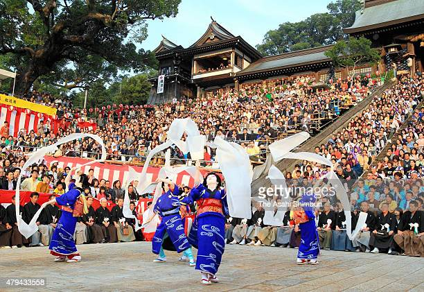 People Perform During The Nagasaki Kunchi Festival At Suwa Shrine On October 7 2011 In Nagasaki
