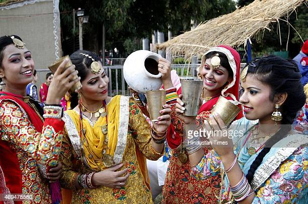 People perform during the occasion of Baisakhi Mela at Indira Gandhi National Centre for Arts at Janpath on April 12 2015 in New Delhi India Baisakhi...