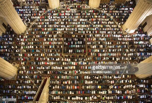 People perform Eid alFitr prayer at Selimiye Mosque in Edirne Turkey on July 17 2015 Muslims around the world celebrate Eid alFitr as the fasting...