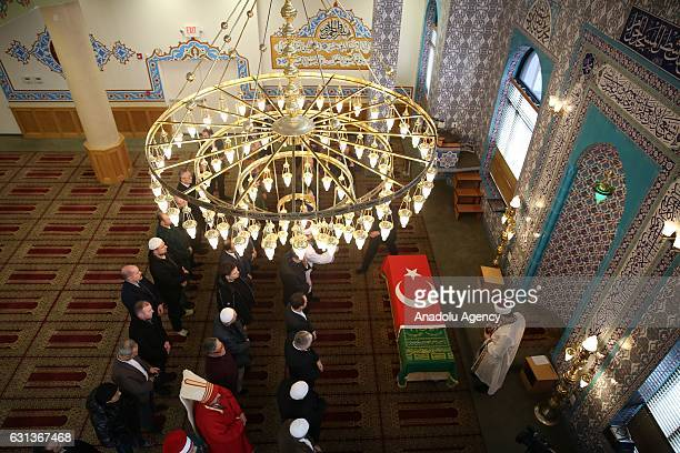 People perform funeral prayer during the funeral ceremony of the Abdulmecid Han, the 31st Sultan of the Ottoman Empire's third generation grandson...