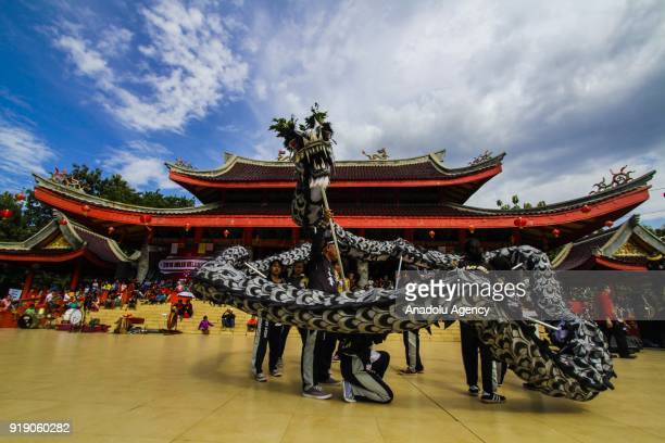 People perform Lion Dance as a part of Lunar New Year celebration is seen in the Sam Poo Kong temple in Semarang Central Java Indonesia on February...