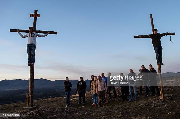 People perform the crucifixion during a rehearsal of the reenactment of Christ's suffering on March 24, 2016 in Hiendelaencina, Spain. Since 1972,...
