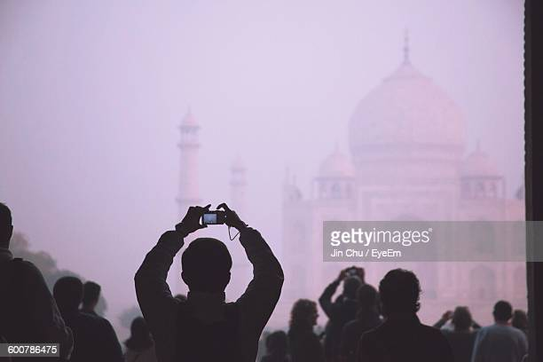 People Photographing Taj Mahal