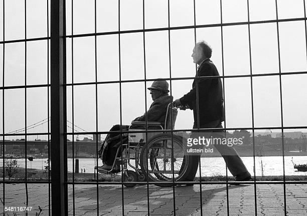 people physical handicap aid older man in a wheelchair will be pushed by a younger man view through a lattice fence aged 70 to 80 years aged 40 to 50...