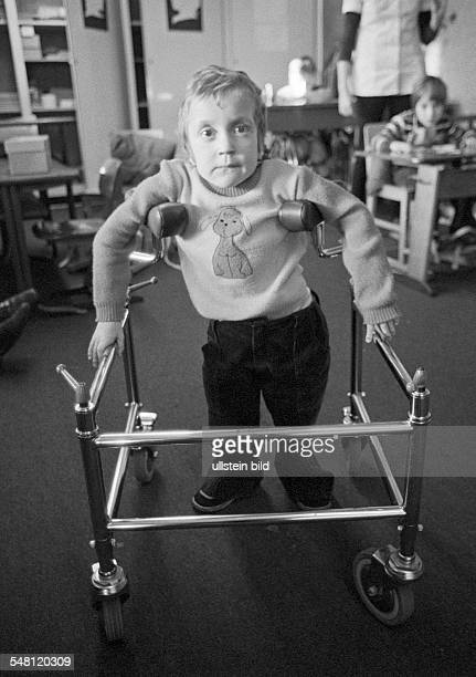People, physical handicap, school, little girl in a wheeled walker, aged 3 to 4 years, Ute, Special School Alsbachtal, D-Oberhausen,...