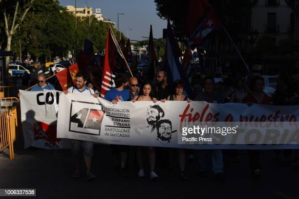 People pictured during the celebration of the Cuban Revolution's anniversary in Madrid