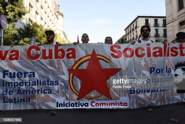 People pictured during the celebration of the Cuban Revolution's anniversary in Madrid.