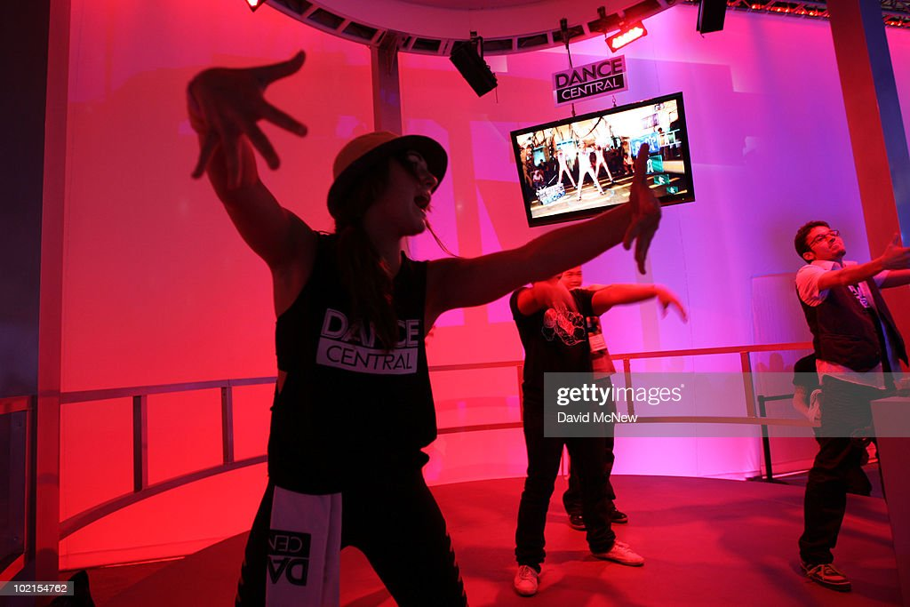People play a dance game at the MTV Games Dance Central