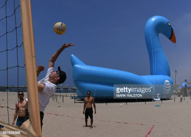 People play beach volleyball beside a giant 100 foot by 45 foot inflatable swan that set a new Guinness World Record for the world's largest...