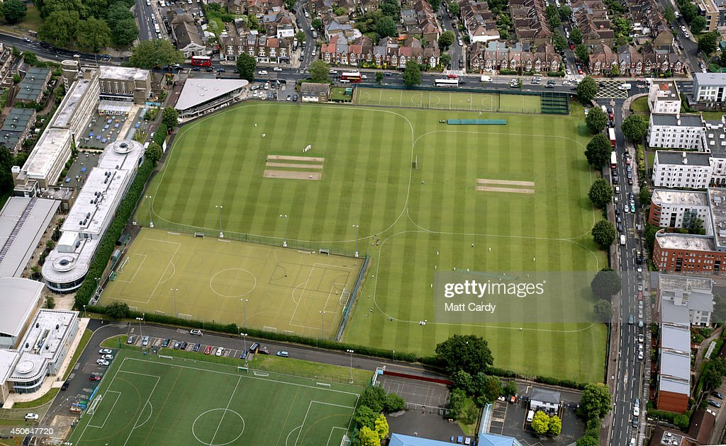 People play cricket seen from the air on June 14, 2014 in London, England.
