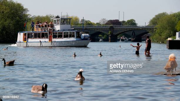 People play in the shallows of the River Thames as they soak up the sun in Richmond south west London on May 7 2018 Temperatures on Monday were...