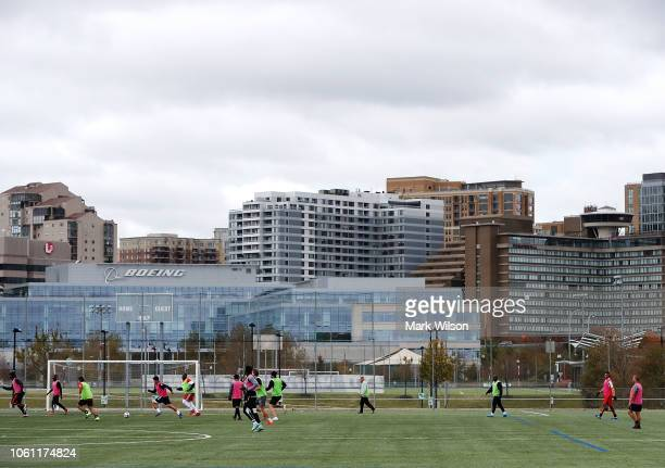 People play soccer at Long Bridge Park in the Crystal City area on November 13 2018 In Arlington Virginia Amazon announced today that it has chosen...