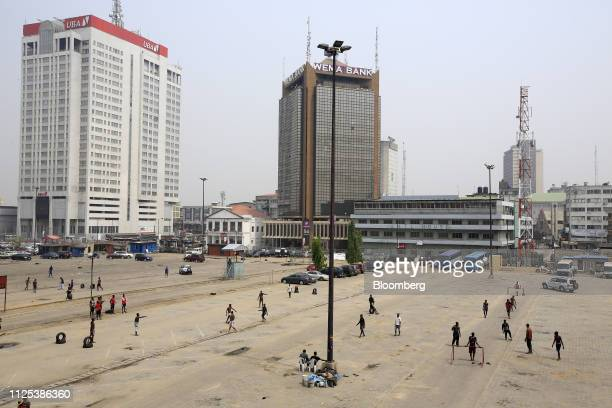 People play soccer in a car park in the business district of Lagos Nigeria on Saturday Feb 16 2019 A lastminute delay of Nigerias general elections...