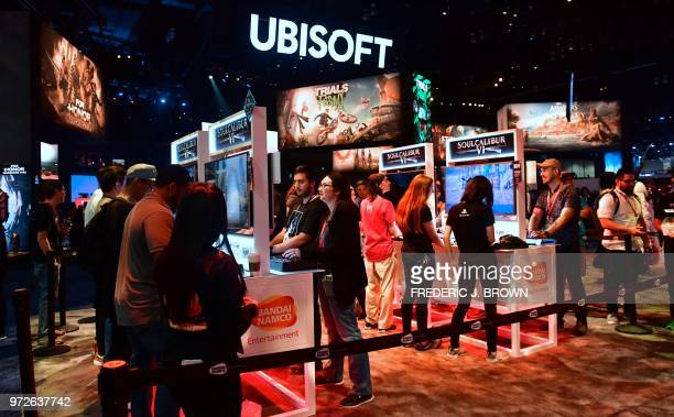 People play the upcoming game Soulcalibur VI by Project Soul and Bandai Namco Entertainment at the 24th Electronic Expo or E3 2018 in Los Angeles...
