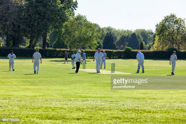 people playing cricket in a park in malahide, county fingal, ireland - ireland cricket team stock photos and pictures
