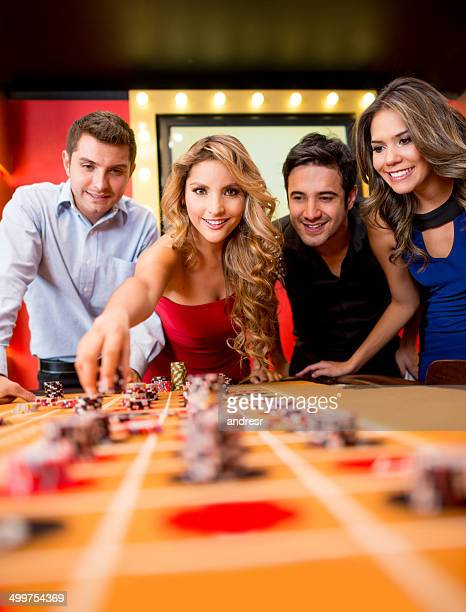 People playing the roulette