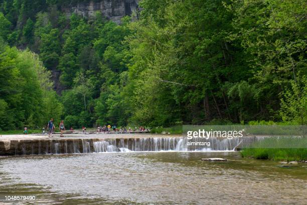 people playing water in the creek at taughannock falls state park - finger lakes stock pictures, royalty-free photos & images