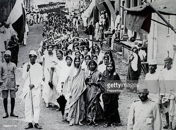 People, Politics, India, pic: 29th July 1930, Bombay, A march of women through Bombay's streets to protest against the imprisonment of Mrs, Lukmani,...
