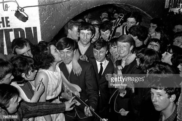 """People, Pop Music, pic: 1964, The famous Cavern Club in Liverpool, England, showing a pop group and their fans, the scene for the """"Sound of '64 Beat..."""