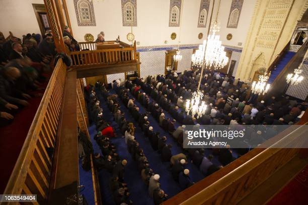 People pray at Haci Bayram Veli Mosque during a religious ceremony within the celebrations for Mawlid alNabi the birth anniversary of Muslims'...
