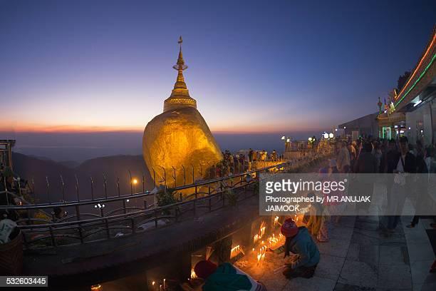 People pray at Kyaiktiyo Pagoda