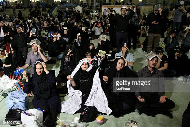 People pray at Mosalla Mosque on the 19th day of Ramadan as eventual Laylat alQadr One of the Muslim's holiest nights in Tehran Iran on June 24 2016...