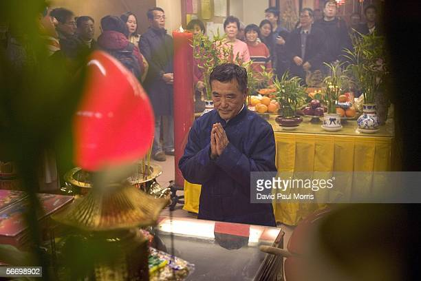 People pray at the MaTsu Temple in celebration of Chinese New Year on January 29 2006 in Chinatown San Francisco California The Lunar New Year...