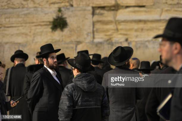 People pray at The Western Wall Judaism's holiest prayer site in Jerusalem's Old City On Friday February 7 in Jerusalem Israel
