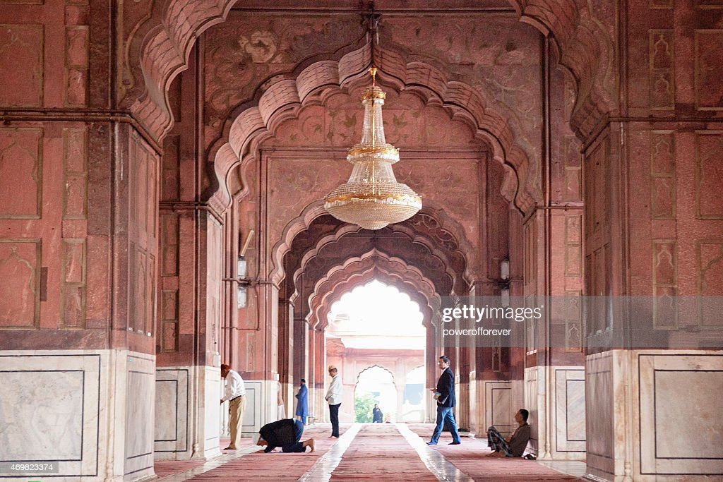 People Praying at Jama Masjid - Old Delhi, India : Stock Photo