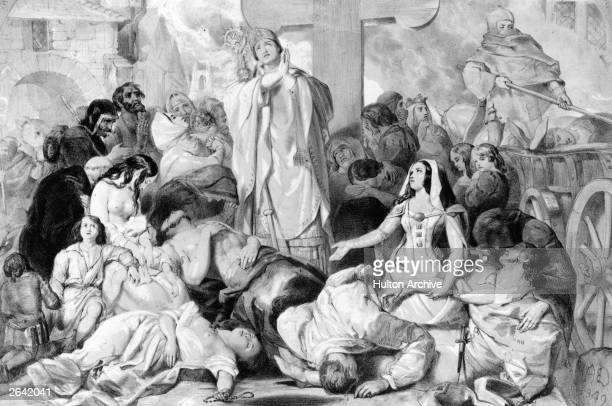 People praying for relief from the bubonic plague, circa 1350. Original Artwork: Designed by E Corbould, lithograph by F Howard.