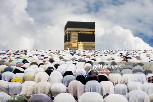 people praying in mecca - hajj stock photos and pictures