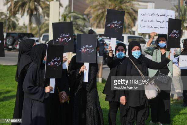 People predominantly women gather to be against gender-based violence during a protest over a murder of Sabah Al-Salem who refused to marry a man...