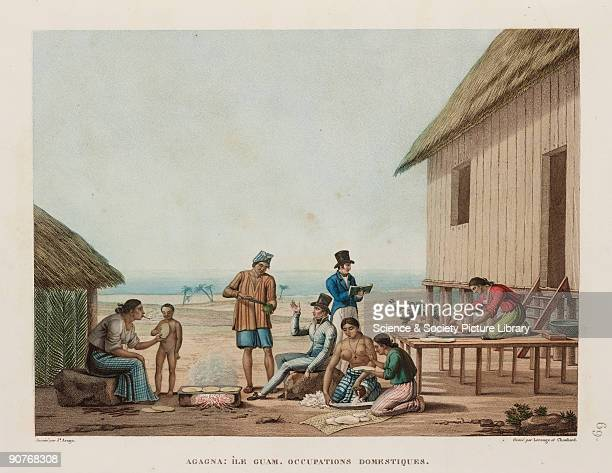 People preparing and baking bread in Agagna on the island of Guam now a dependent state of the USA One of the Europeans appears to be sketching the...